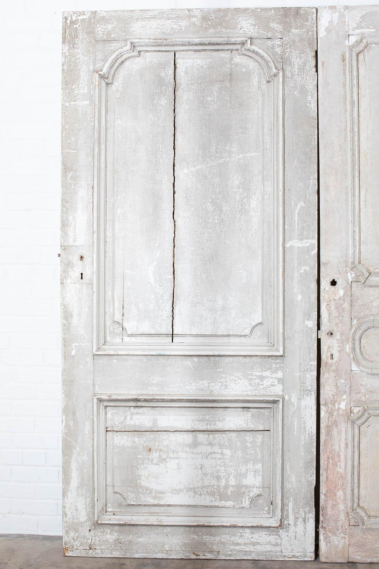 Metal Rustic Pair of 19th Century French Painted Panel Doors For Sale