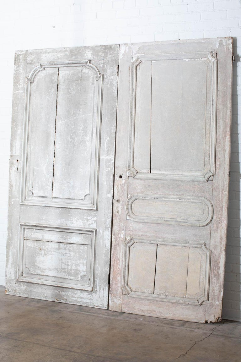 Rustic Pair of 19th Century French Painted Panel Doors For Sale 2