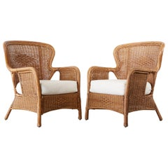Rustic Pair of Wicker Wrapped Wingback Chairs