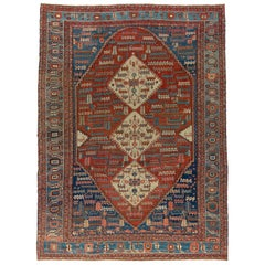 Rustic Persian Bakshaish Tribal Room Size Rug
