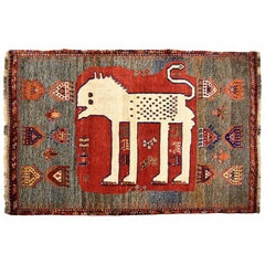 Rustic Persian Ghashghai Lion Carpet in Cream, Red, Blue, and Brown Wool