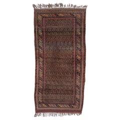 Rustic Persian Kurdish Rug, All-Over Field, Fringes