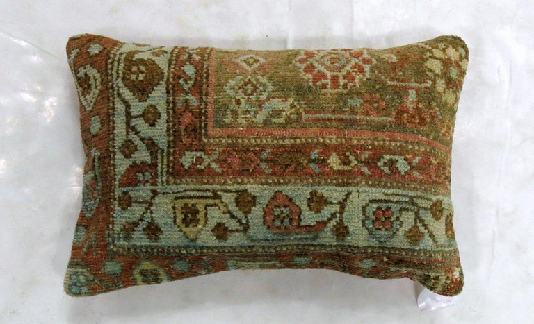Rustic Persian Malayer Lumbar Size Rug Pillow In Good Condition For Sale In New York, NY