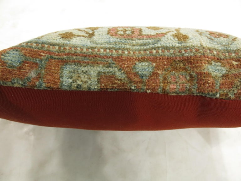 20th Century Rustic Persian Malayer Lumbar Size Rug Pillow For Sale