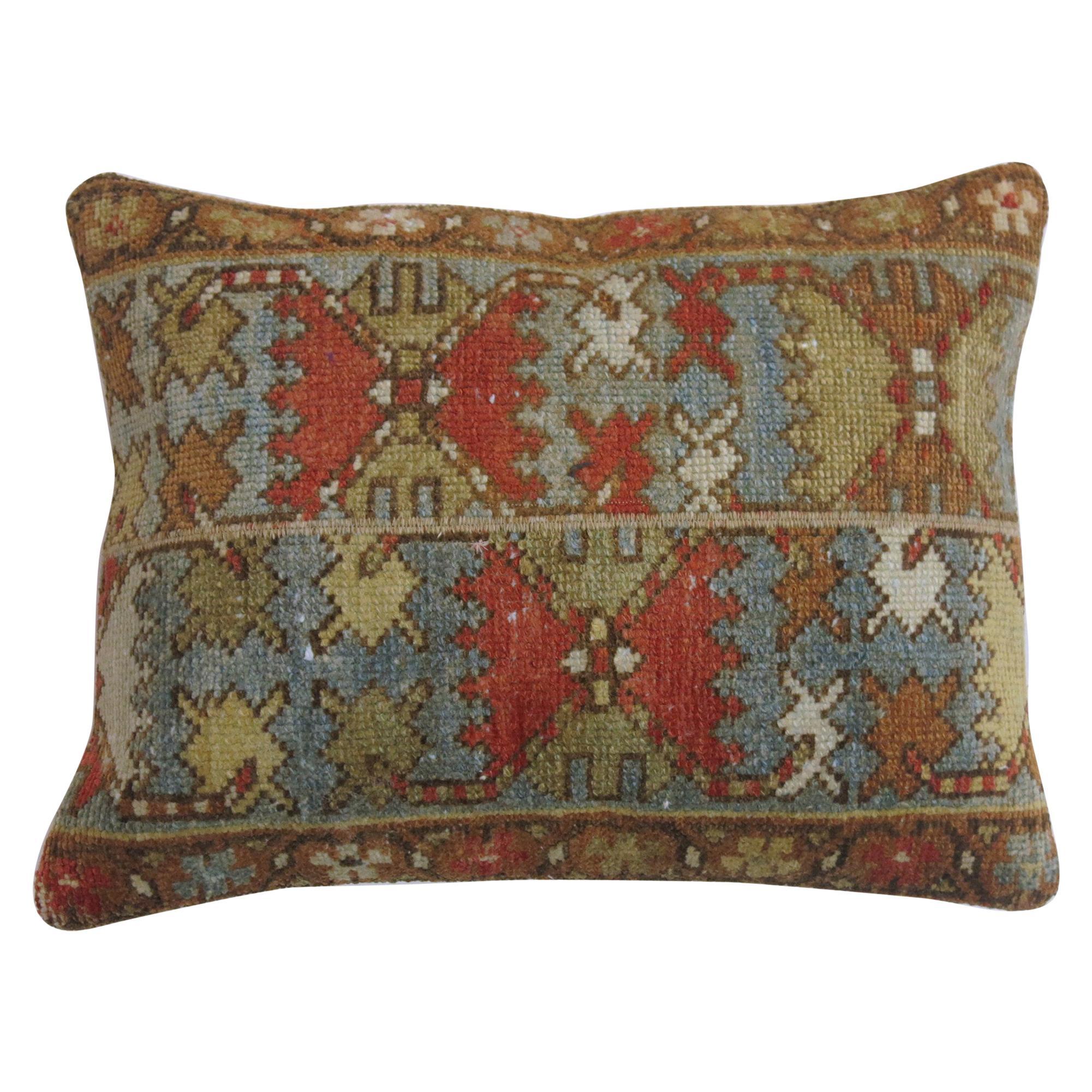 Rustic Persian Malayer Lumbar Size Rug Pillow