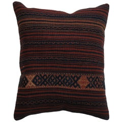 Rustic Persian Striped Vintage Wool Rug Pillow with Blue Cotton Backing
