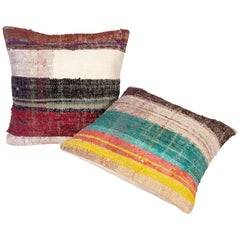 Rustic Pillow Cases Made from an Anatolian Rag Rug, Mid-20th Century