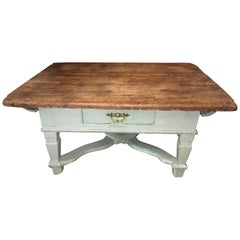 Rustic Pine and Light Blue Coffee Table, 18th Century, Repurposed