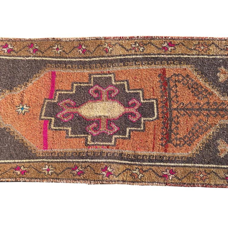 This vintage Anatolian Turkish Oushak rug features hot pink, yellow, gray, white and blue on a geometric background. Hand knotted wool. Gorgeous for a hallway, kitchen, bedroom or entry. In the style of Swedish Farmhouse, French Country, Gustavian,