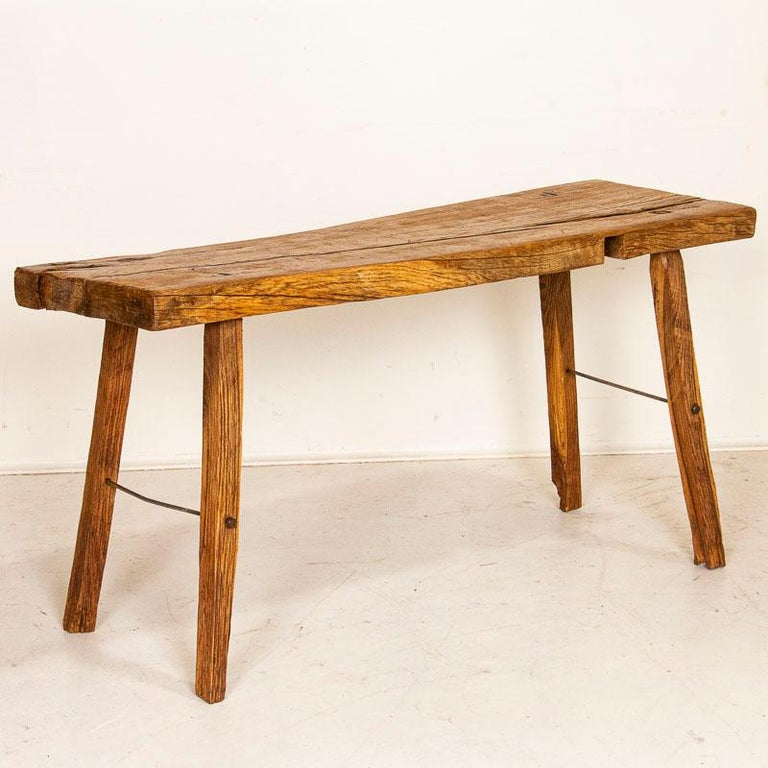 Hungarian Rustic Plank Wood Vintage Console Table For Sale