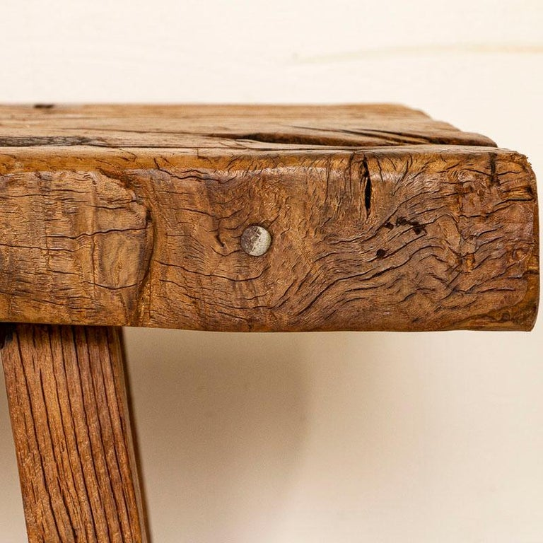 Rustic Plank Wood Vintage Console Table In Good Condition For Sale In Round Top, TX