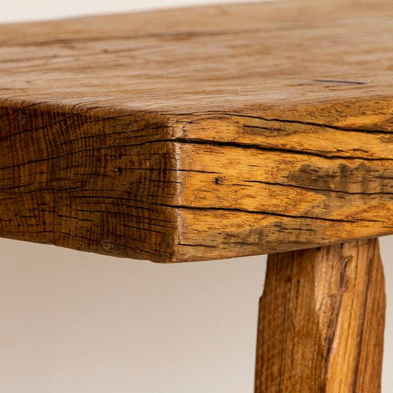 Rustic Plank Wood Vintage Console Table For Sale 1