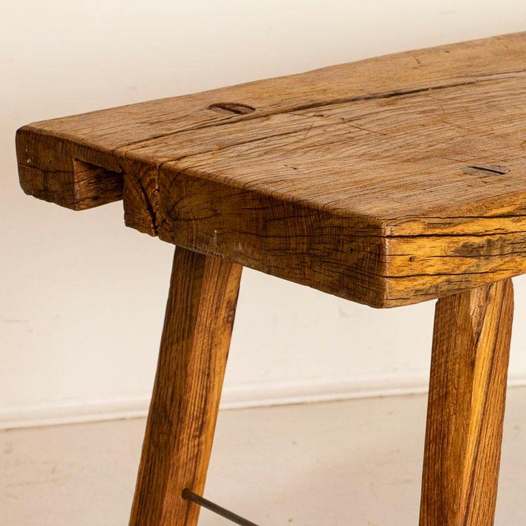 Rustic Plank Wood Vintage Console Table For Sale 2