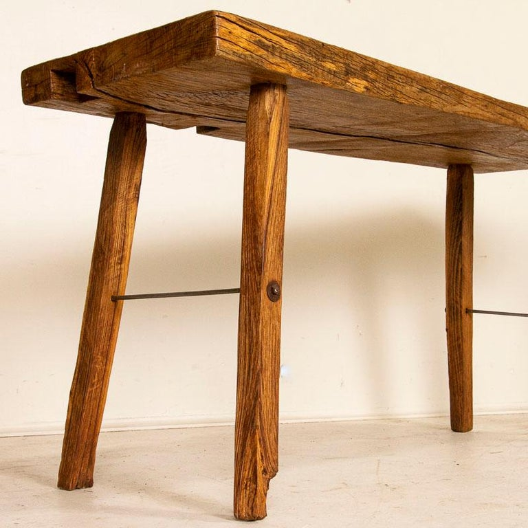 Rustic Plank Wood Vintage Console Table For Sale 3