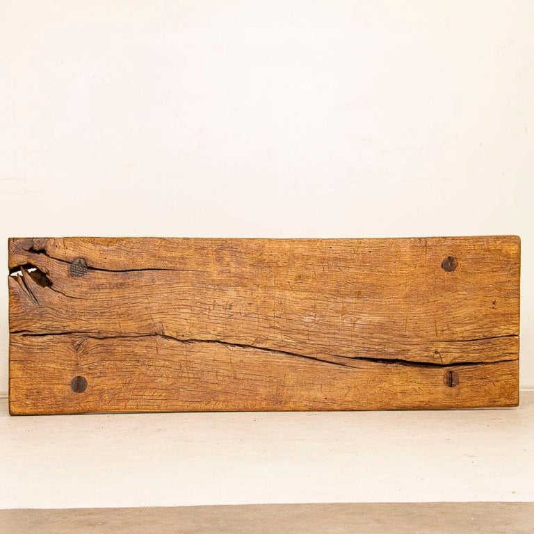 Rustic Plank Wood Vintage Console Table For Sale 4