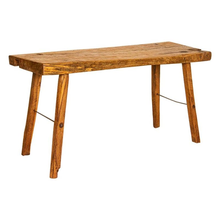 Rustic Plank Wood Vintage Console Table For Sale