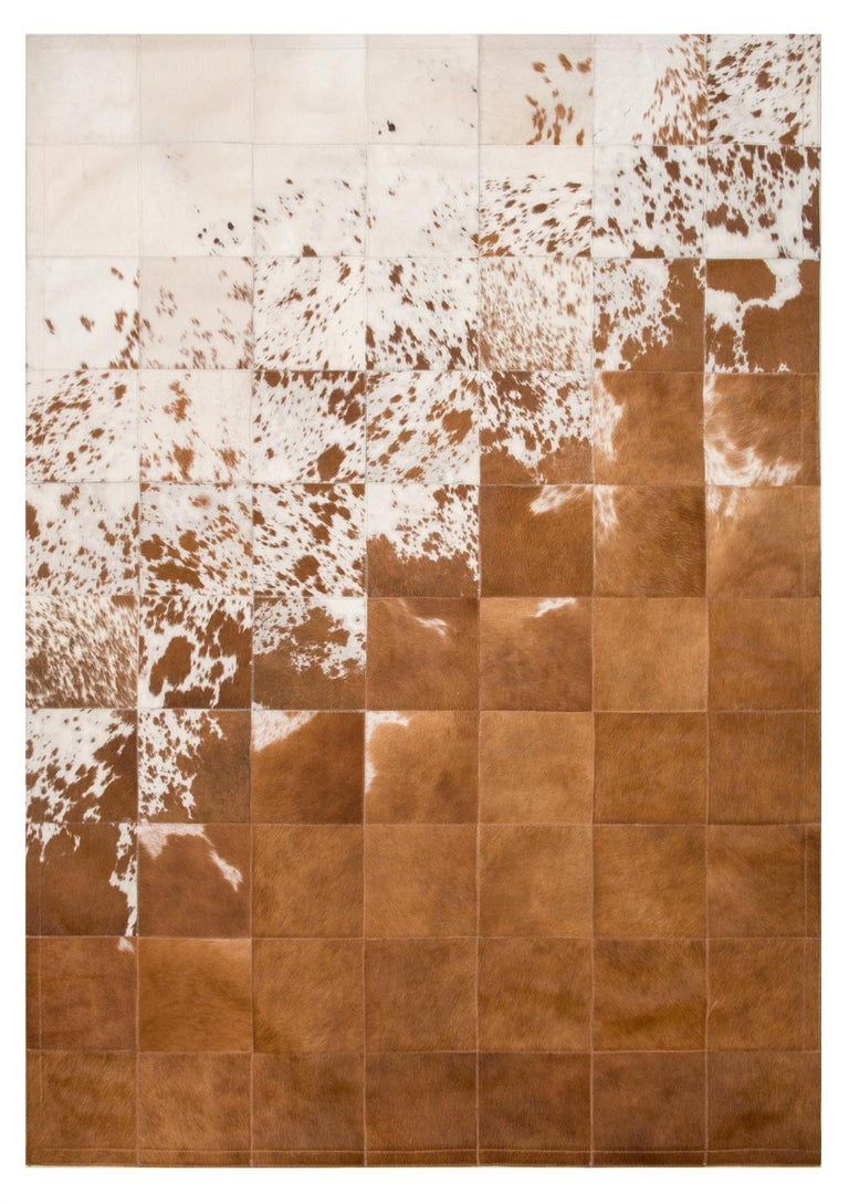 Argentine Rustic, Raw Brown and White customizable Gaucho Cowhide Area Floor Rug Large For Sale