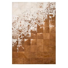 Rustic, Raw Brown and White Gaucho Cowhide Area Floor Rug Large