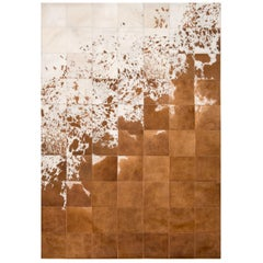 Rustic, Raw Brown & White customizable Gaucho Cowhide Area Floor Rug Small