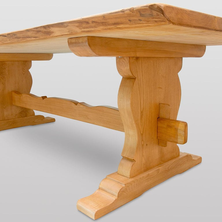 Modern Rustic Rectangular Chestnut Dining Table For Sale