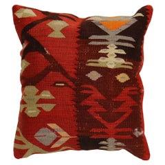 Rustic Red Brown Geometric Turkish Kilim Pillow