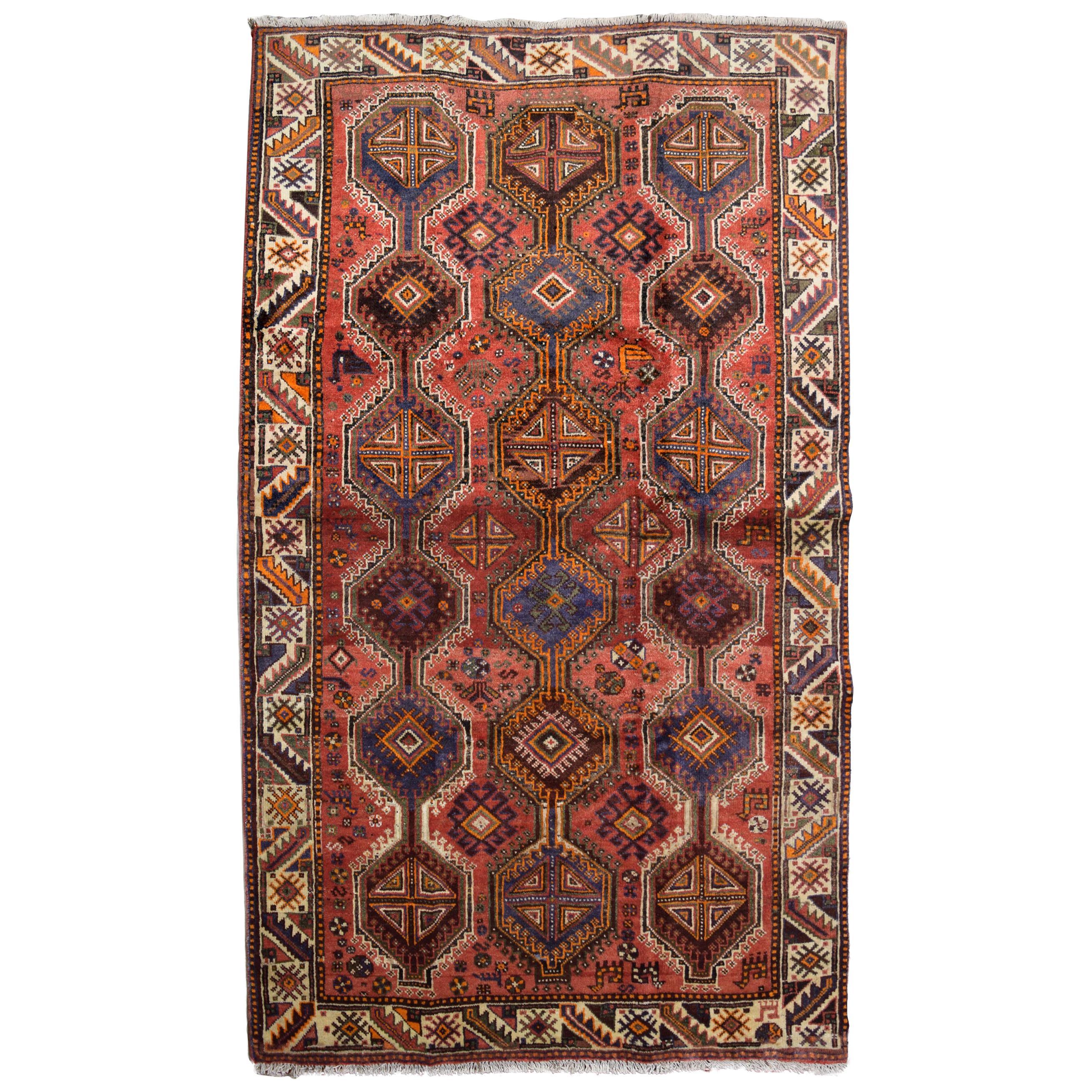 Rustic Red, Pink, and Cream Persian Ghashghai Carpet