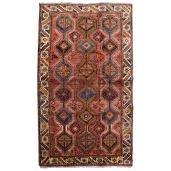 Rustic Red, Pink, and Cream Persian Ghashghai Carpet