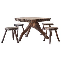 Rustic Root Table with Four Stools