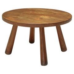 Rustic Round Coffee Table, Mid-Century Modern, Minimalist, 1950's