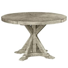 Rustic Round Dining Table, Greyed