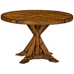 Rustic Round Dining Table, Walnut