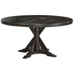 Rustic Round Dining Table, Dark Ale