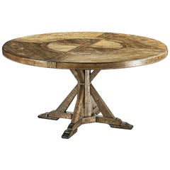 Rustic Round Dining Table, Medium Brown