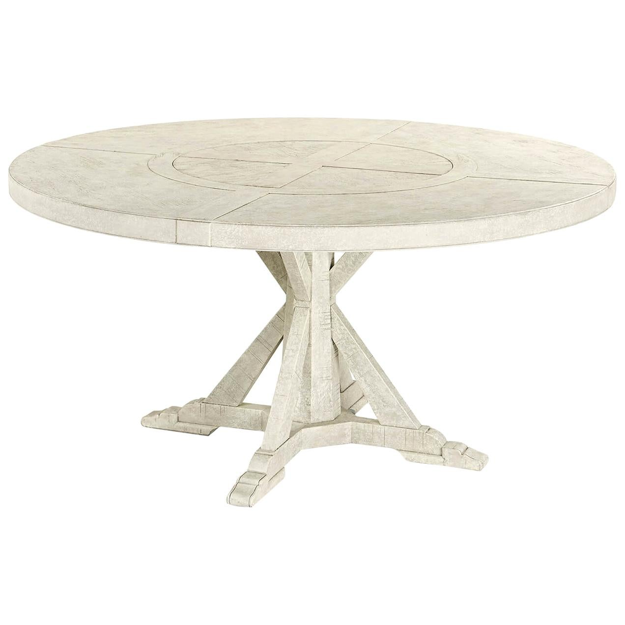 Rustic Round Dining Table, Whitewash