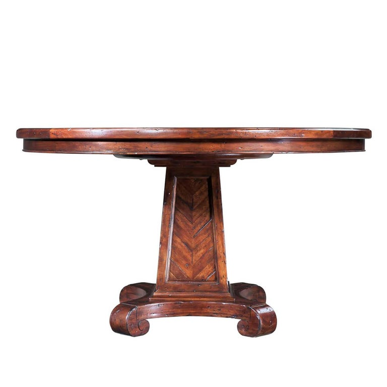 European Rustic Round Dining Table For Sale