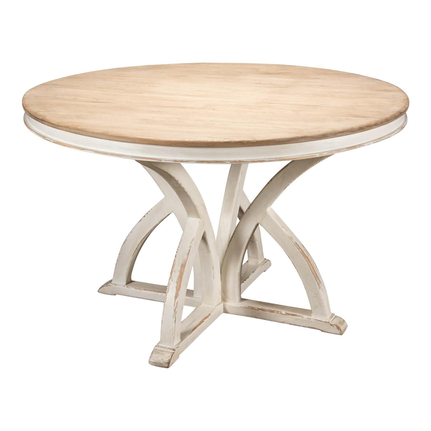 Rustic Round Pine Top Dining Table