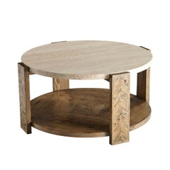 Rustic Round Travertine Top Coffee Table