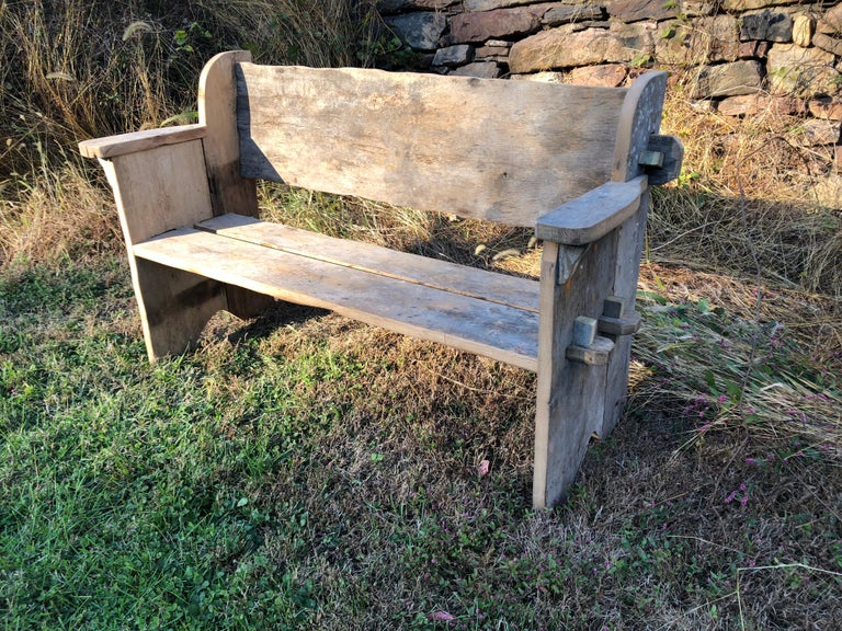 Chestnut Rustic Scottish Style Garden Bench For Sale