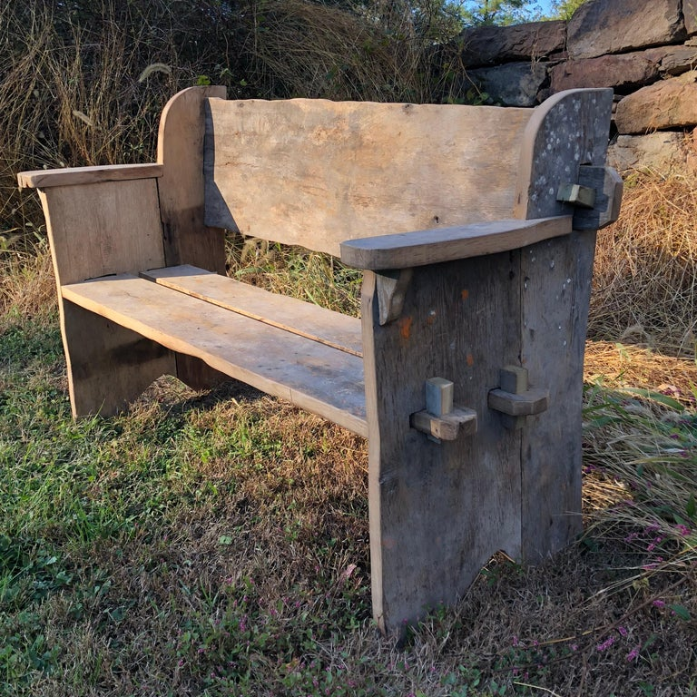 Rustic Scottish Style Garden Bench For Sale 1
