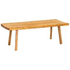 Rustic Slab Wood Coffee Table with Splayed Peg Legs