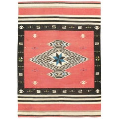 Rustic Southwestern Style North American Navajo Tribal Accent Rug, circa 1940