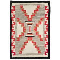 Rustic Southwestern Style North American Navajo Tribal Throw Rug, circa 1920