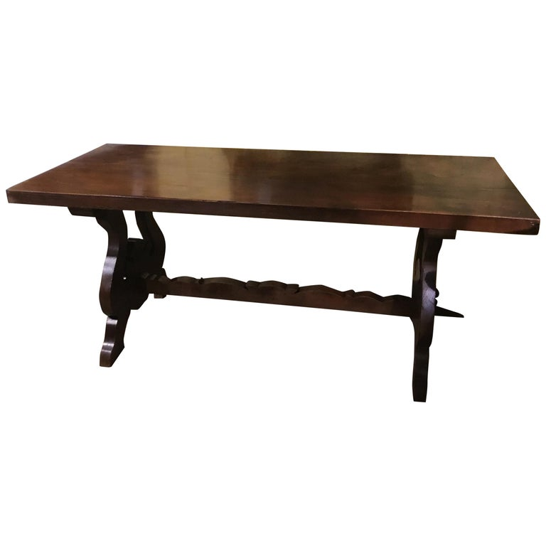 Rustic Spanish Refectory Table Early 19th Century with Ox Bow Carved Ends Walnut For Sale