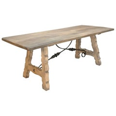 Rustic Spanish Stripped Oak Dining Table