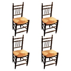 Rustic Spanish Turned Wood Chairs and Straw Seat
