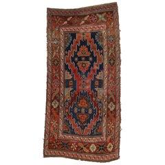 Rustic Tribal Style Antique Caucasian Kazak Area Rug, Wide Hallway Runner