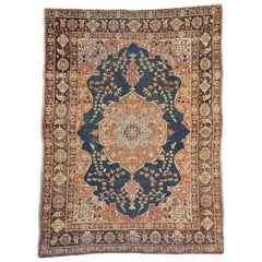 Rustic Style Antique Persian Tabriz Accent Rug for Kitchen, Foyer or Entry Rug