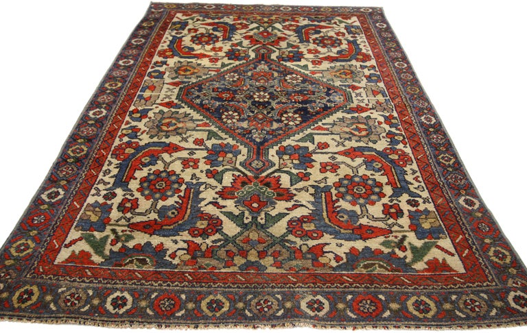 Turkish Rustic Style Distressed Antique Persian Malayer Rug For Sale