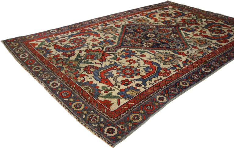 Hand-Knotted Rustic Style Distressed Antique Persian Malayer Rug For Sale