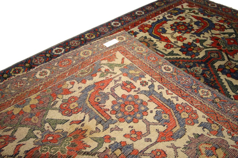 Rustic Style Distressed Antique Persian Malayer Rug In Distressed Condition For Sale In Dallas, TX